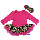 Newborn Baby Hot Pink Camo Bodysuit Pettiskirt Party Dress Romper Jumpsuit 0-18M