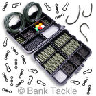 Carp Fishing Tackle Box Lead Clips Hooks Swivels Clips Shrink Tube Terminal Rigs <br/> 3 Colours Available. Green Brown and Black. UK Seller.