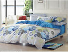 Comfortable Cotton White+Blue Abstract Pattern Quilt Cover Set Home Bedding &$