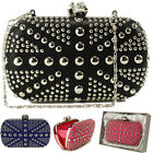 Ladies Designer Diamante Skull Metal Stud Box Clutch Evening Bag Purse Handbag