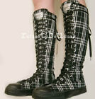 20 Hole Punk Rock Knee Hi Top Sneaker Black WhiteTartan Checker Plaid Men Women