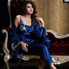 Free shipping Black/Blue silk Blend 3pcs Women Sleepwear Pajama Sets M/L/XL/2XL