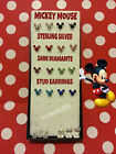 925 STERLING SILVER DISNEYS MICKEY MOUSE 5MM DIAMANTE STUD EARRINGS FREE P&P!