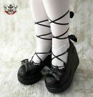 Sweet Gothic Lolita Dolly Cosplay Tea Party Roman Lace Platform Wedge Mono Black