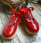 Punk Rock Gothic Sweet Lolita Faux Wood Platform Ballet Ribbon Lace Corset Red