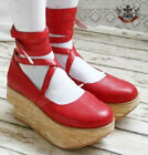 Punk Rock Gothic Lolita Faux Wood Leather Platform Ballet Shoe Ribbon Strap Red