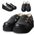 Leather Punk Rock Rockabilly Japan Ripple Sole 2 Buckle Strap Clog Mule Platform