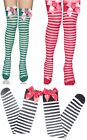 Red/Green & White Stripe Thigh Plush Strawberry Stockings Fancy Dress Accessory