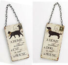 A Home Without Dog Cat Sign Plaque Vintage Shabby Wall Hanging Chic Art Pets New