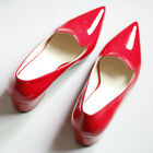 US5-8 Patent Leather Retro OL Chunky Pointed Toe Shoes slip on shoes  [HA]