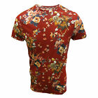 FLY53 T SHIRT CRIMSON GHOST MENS RED FLORAL PRINT TOP UK S - XXL