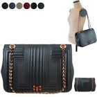WOMEN HANDBAG ROECO QUILTED FULL FLAP CHAIN SHOULDER BAG REAL SHEEPSKIN LEATHER