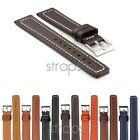 StrapsCo Thick Leather Mens Flat Watch Band Strap with Contrast Stitching