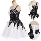 White&Black Wedding Formal Prom Short Ball Gown Party Cocktail Evening Dress