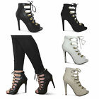 womens new lace up high stiletto heel ladies ankle shoes strappy sandals size