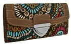 New Womens Aztec Print Canvas Faux Leather Ladies Purse Coin Wallet ID Card