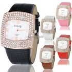 5 Colors Roman Rose Golden Crystal Case Leather Band Party Ball Lady Women Watch
