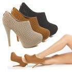 Women Perforated Cut Out Platform Ankle Bootie Stiletto High Heel Pump Boot 5-11