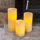 Battery Operated Church Pillar Flickering LED Flameless Wax Candles, 3 Sizes