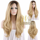 "Long Curly 18""-28"" Brown Mixed Blonde Ombre Lace Front Wig Heat Resistant"