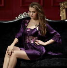 Free shipping Purple silk Blend 2pcs Women Sleepwear Robe & Gown Set M/L/XL/2XL