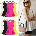 Stylish  Womens Flouncing Sleeveless Chiffon Pleated Belt Vest Shirt Dress 8-14