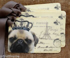 Hang Tags  FRENCH ROYAL PUG DOG POSTCARD TAGS or MAGNET #406  Gift Tags