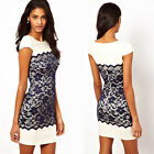 Lady OL Lace Splicing Formal Bodycon Cap Sleeves Crew Neck Short Party Dresses