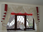 "CREAM SWAGS & TAILS+CURTAINS SETS FITS WINDOWS 61"" to 105""(155-267cm)"