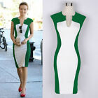 Chic Lady Women's Hip-wrapped Party Pencil Midi Dress V Neck Cap Sleeve Bodycon
