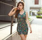 HOT Sexy Women Birds Prints Straps Halter Stretch Green Mini Sling Dress 4670#