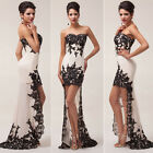 Prom Bridesmaids Delicate Applique Strapless Lace Ball Women Gown High-Low Dress