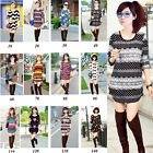 Women Fashion 15 Patterns Long Sleeve Loose T-Shirt Crew Neck Blouse Tee Tops
