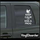 Keep Calm and Kiss a Frog Vinyl Wall Decal or Car Sticker-keepcalmandkissafrogEY