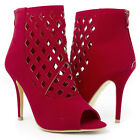 Red Open Toe Ankle Bootie Diamond Cut Out Stiletto High Heel Pump Shoe US 5-11