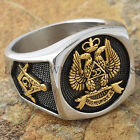Men's Masonic Ring Scottish Rite 33 Degree Freemason 24K Gold Plated Size 9-13