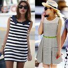 OL Lady Tunic Sleeveless Stripe Mini Vest Dress Summer Skirt Sundress Top C1MY