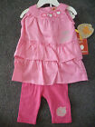 Baby girls pink APPLE BOTTOMS top & leggings outfit 0-3 3-6 6-9 12 18 24 months