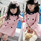 Pink kids Toddler Girls Princess Clothes Cotton Cute Party Dress Top 2-7 Y
