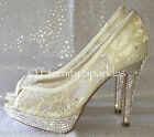 Ivory Lace & Crystal Peep Toe Wedding Bridal Shoes Made With SWAROVSKI ELEMENTS