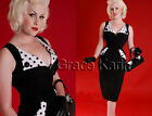 Free Ship Women's Vintage Polka Dot Pinup Silm Bodycon Evening Cocktail Dress Ne