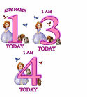 SOFIA THE FIRST BIRTHDAY AGE A5 IRON ON TRANSFER FOR WHITE/LIGHT COTTON