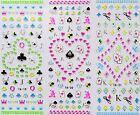 Cute 3D Poker Pattern Designs Nail Art Stickers Decals Decorations Stamp Kit