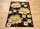 Modern Brown Beige Contemporary Floral Easycare Rug Runner S- Large Sizes 50%OFF
