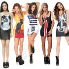 Hot Sexy Adventure Printed Mini Dress Cool Skull Printed Dress Punk Stretchy