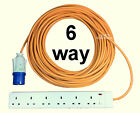 6 way Electric Extension Cable Lead. Camping, Tent Power Hook Up Multi Gang Plug