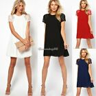 Women Crew Neck Chiffon Lace Short Sleeve Sexy Swing Elegant Chic 4 colors