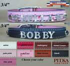 Bling Leather Dog Collars - Custom Dog Collars with Rhinestone Name - medium
