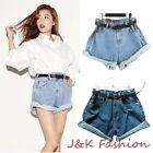 Women's Baggy Loose Shorts Hot pants Ladies High Waisted Denim Over sized Jeans
