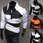 Cool Patched Men's Slim Fit Long Sleeve Polo Shirt Soft T-Shirt Tops In XS S M L